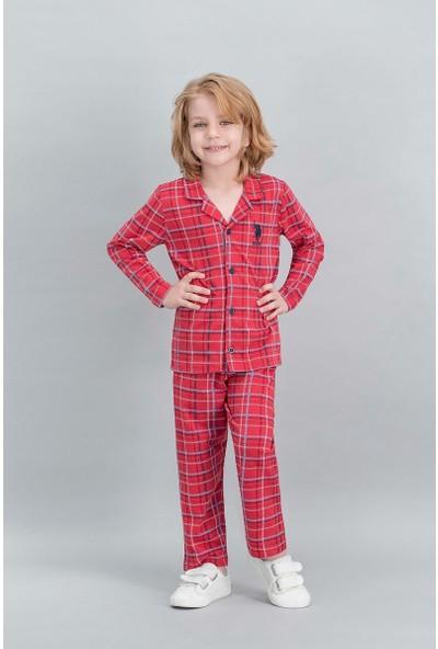 U.S. Polo Assn Lisanslı Ekose Kırmızı Erkek Çocuk Gömlek Pijama