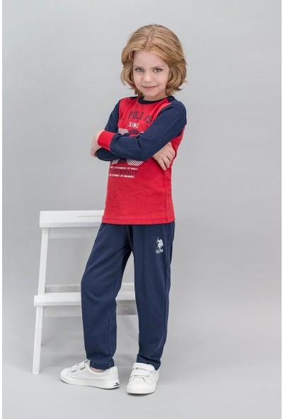 U.S. Polo Assn Lisanslı Kırmızı Erkek Çocuk Pijama Takımı