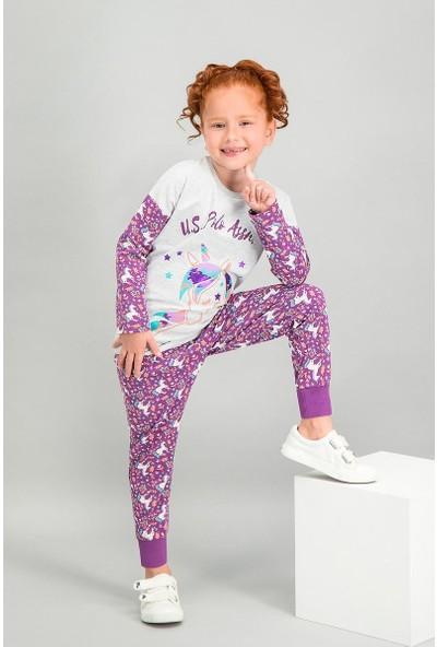 U.S. Polo Assn Lisanslı Karmelanj Kız Çocuk Pijama Takımı
