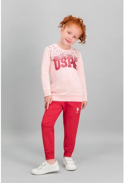 U.S. Polo Assn Lisanslı İnci Pembe Kız Çocuk Payetli Eşofman Takımı