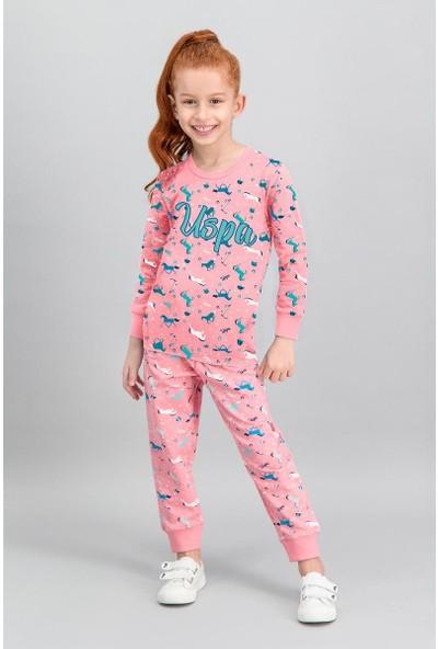 U.S. Polo Assn Lisanslı Şeker Pembe Kız Çocuk Pijama Takımı