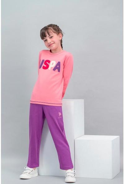 U.S. Polo Assn Lisanslı Şeker Pembe Kız Çocuk Eşofman Takımı