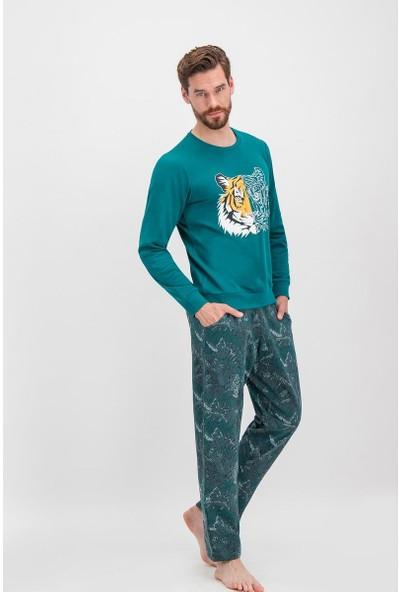 Arnetta Tiger Face Koyu Yeşil Erkek Eşofman Takımı