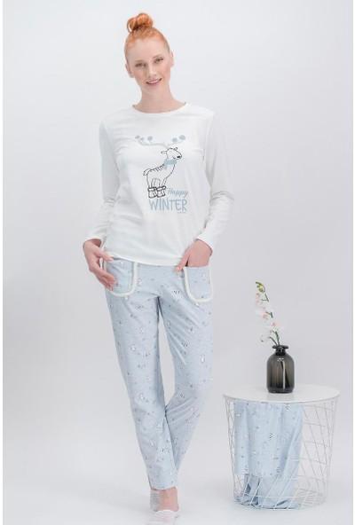 Arnetta Happy Winter Krem Kadın Pijama Takımı