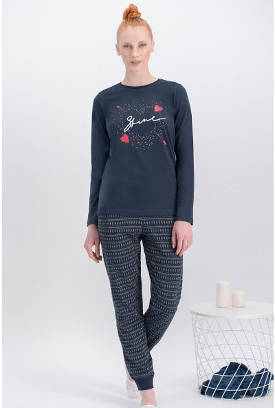 Arnetta Shine Lacivert Kadın Pijama Takımı