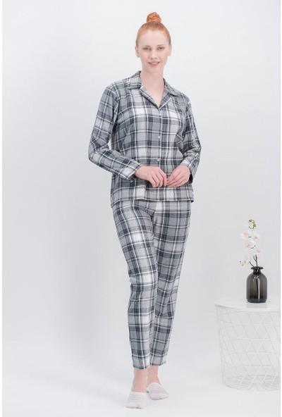 Arnetta Hello Ekose Gri Kadın Gömlek Pijama