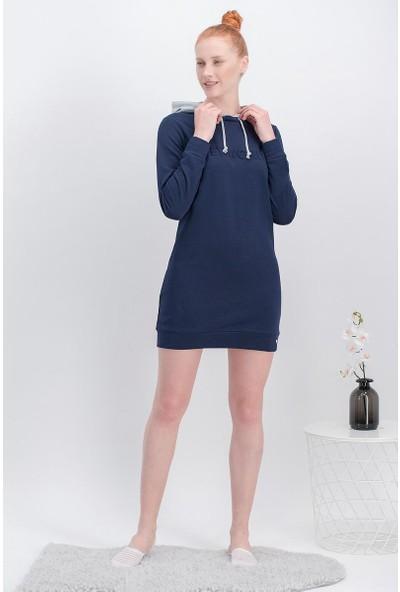 Arnetta Hey World Lacivert Kadın Kapüşonlu Tunik Elbise