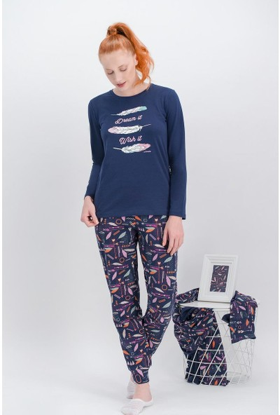 Arnetta Dream Lacivert Kadın Pijama Takımı