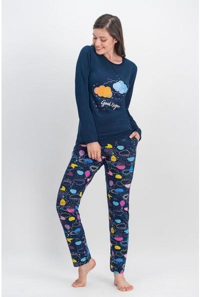 Arnetta Rainbow Clouds Lacivert Kadın Pijama Takımı
