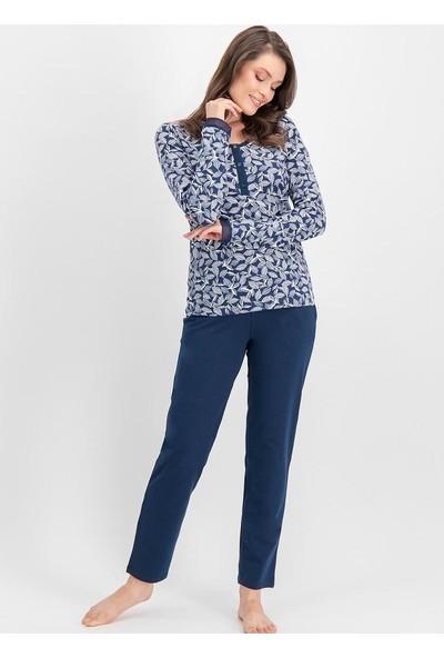 Arnetta Basic Lace Leaf Lacivert Kadın Pijama Takımı