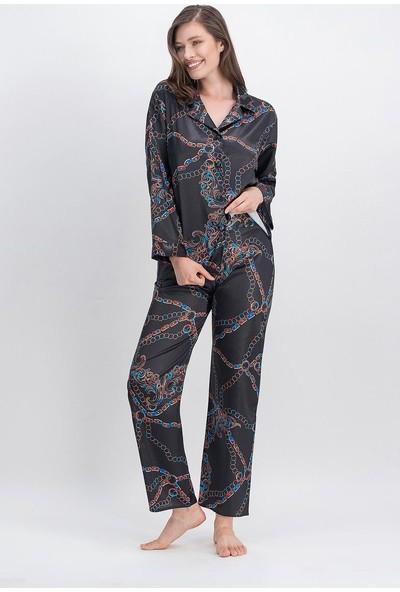 Arnetta Chain Siyah Kadın Saten Gömlek Pijama