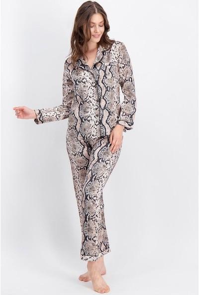 Arnetta Yılan Desen Bej Kadın Saten Gömlek Pijama
