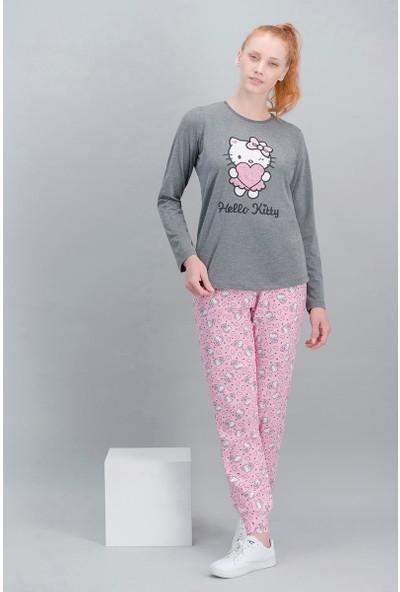 Hello Kitty Lisanslı Koyu Grimelanj Kadın Pijama Takım