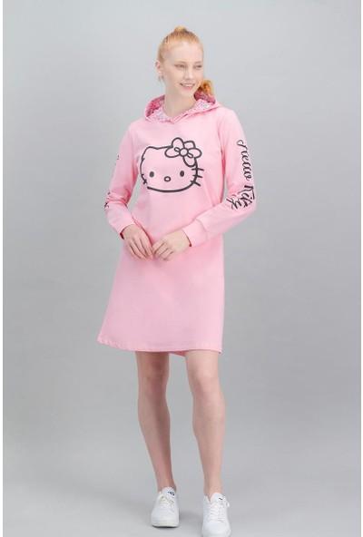 Hello Kitty Lisanslı Açık Pembe Kadın Kapüşonlu Elbise