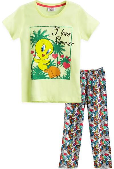 Looney Tunes Tweety Lisanslı Açık Sarı Kız Çocuk Pijama Takımı