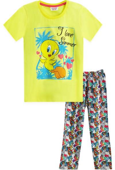 Looney Tunes Tweety Lisanslı Koyu Sarı Kız Çocuk Pijama Takımı