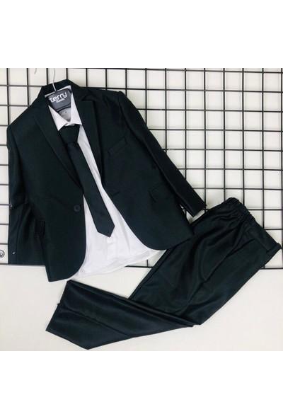 Terry Ceketli Uzun Kol Gömlekli Erkek Çocuk Takım Siyah - 1 Yaş ( 80 cm )