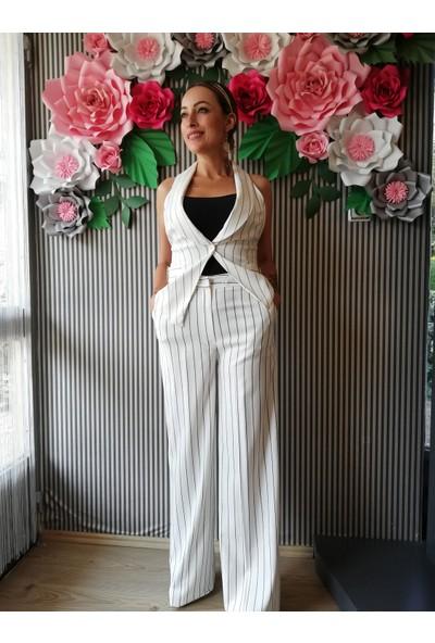 Lefon Kadın Çizgili Bol Paça Pantolon