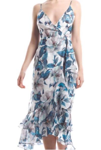 Lefon Kadın Çiçek Baskılı Mavi Elbise