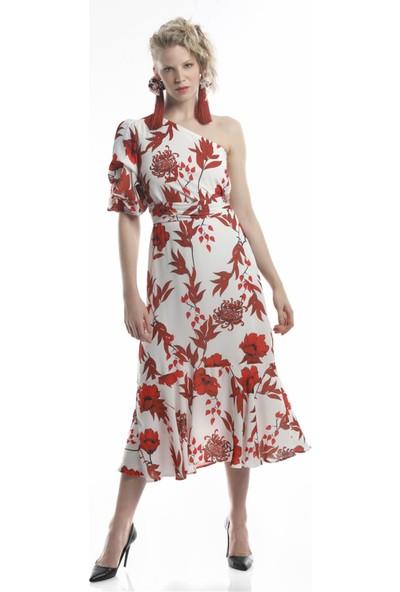Lefon Kadın Tek Omuz Çiçek Baskılı Elbise