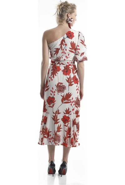 Lefon Kadın Tek Omuz Çiçekli Elbise