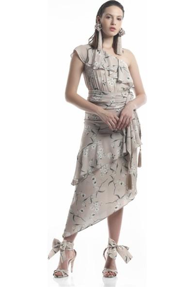 Lefon Kadın Tek Omuzlu Bej Elbise