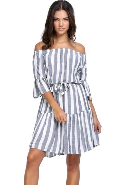 Efgima Kadın Çizgili Düşük Omuz Elbise