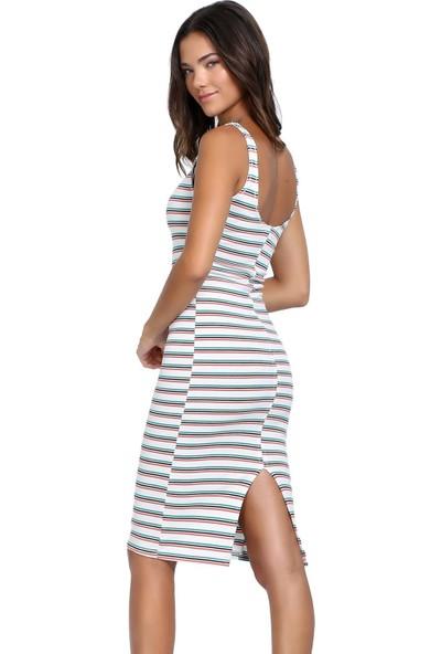 Efgima Kadın Askılı Arkadan Yırtmaçlı Elbise