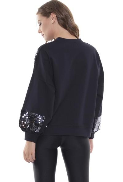 Efgima Kadın Payet İşlemeli Balon Kol Sweatshirt