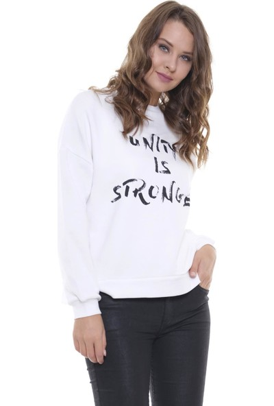 Efgima Kadın Yazı Baskılı Sweatshirt
