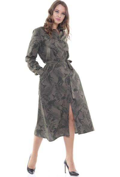 Efgima Kadın Belden Bağlamalı Desenli Elbise