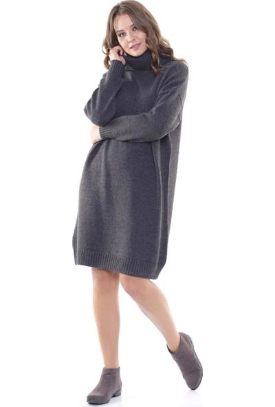 Efgima Kadın Oversize Balıkçı Yaka Elbise