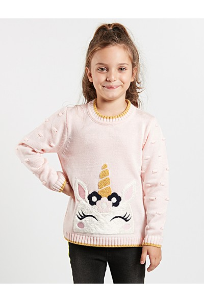 Denokids Kız Çocuk Unicorn Kız Triko Kazak