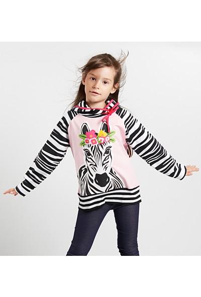 Denokids Kız Çocuk Prenses Zebra Kız Sweatshirt