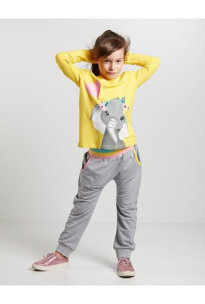 Denokids Kız Çocuk Süslü Fil Kız Pantolon Takım