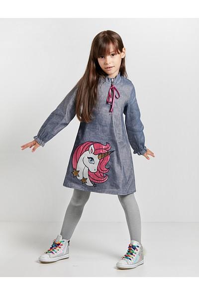 Denokids Kız Çocuk Unicorn Laci Elbise