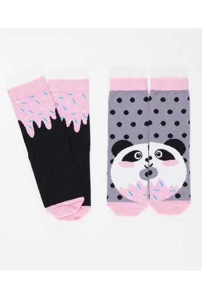 Denokids Kız Çocuk Panda&Crema Kız Soket Çorap 2'Li