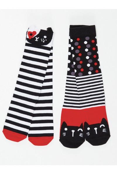 Mushi Kız Çocuk Çizgili Kediler Kız Dizaltı Çorap 2'Li