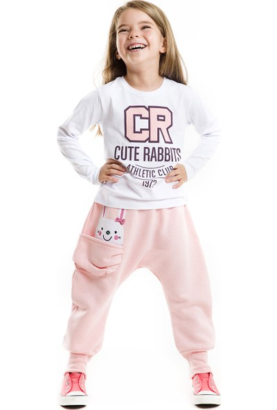 Mushi Kız Çocuk Hip-Hop Kız Pembe Eşofman Altı+T-Shirt