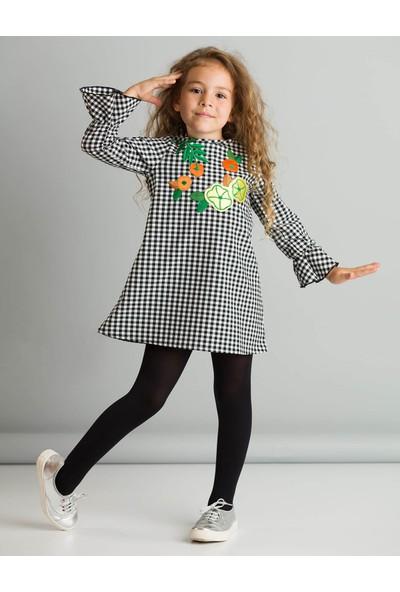 Ollie&Olla Kız Çocuk Floral Ekose Elbise