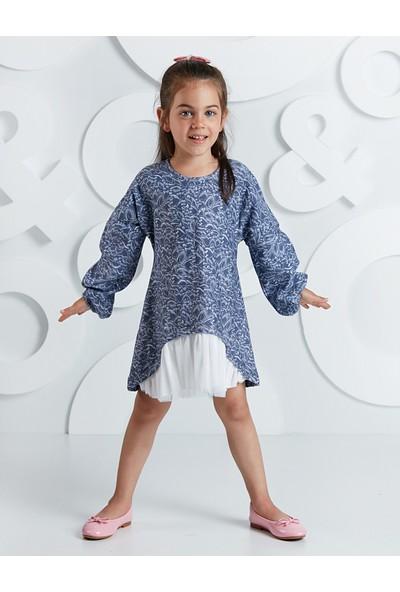 Ollie&Olla Kız Çocuk Yaprak Desenli Tüllü Kız Elbise