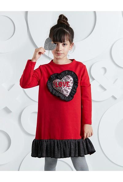 Ollie&Olla Kız Çocuk Kalp Fırfırlı Kız Elbise