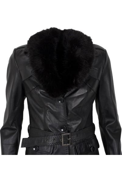By Motto Mystical Kadın Uzun Deri Ceket