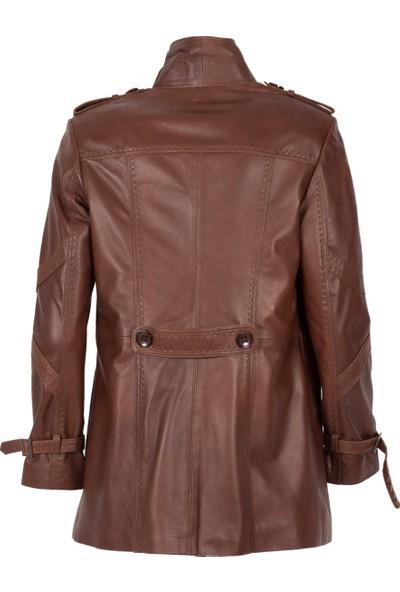 By Motto Angelica Kadın Kahverengi Uzun Deri Ceket
