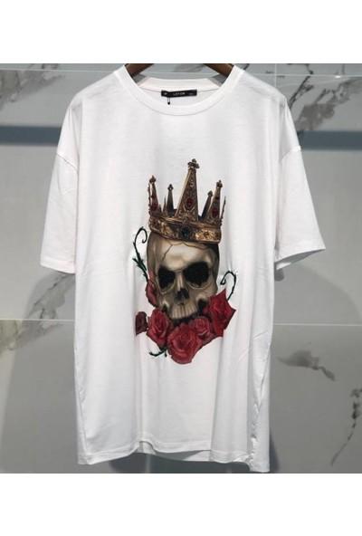 Lefon Kuru Kafa Baskılı Taşlı Beyaz Kadın T-Shirt