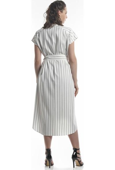 Lefon Çizgili Bej Kadın Elbise