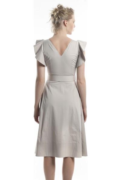 Lefon Keten V Yaka Bej Kadın Elbise