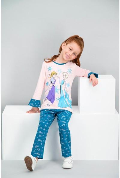 Disney Frozen Lisanslı Inci Pembe Kız Çocuk Pijama Takımı