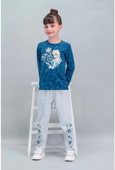 Disney Frozen Lisanslı Lacivert Kız Çocuk Pijama Takımı