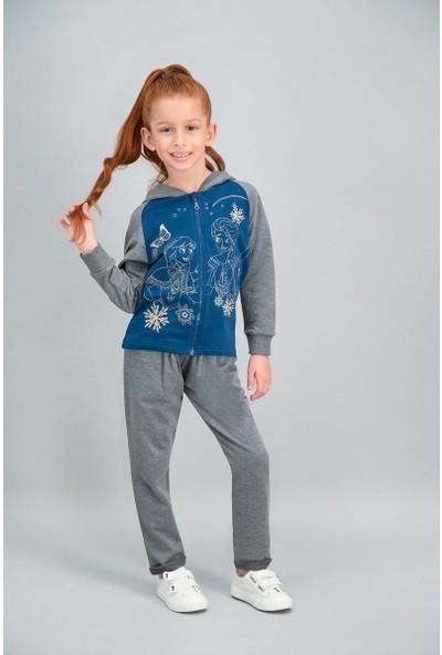 Disney Frozen Lisanslı Lacivert Kız Çocuk Kapüşonlu Eşofman Takımı